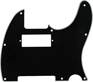 IKN Mini Humbucker Guitar Pickguard Scratch Plate for USA/Mexico Standard Tele Style Guitar, 8 Hole 3Ply Black
