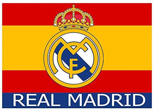 Bandera del Real Madrid Nº 6 sobre fondo bandera de España - Producto Licenciado - Medidas 150 x 100 cm. - Poliester 100%