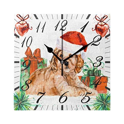 Jacque Dusk Reloj de Pared Moderno,Feliz Navidad Perro Santa Sombrero Copo De Nieve Amapola,Grandes Decorativos Silencioso Reloj de Cuarzo de Redondo No-Ticking para Sala de Estar,25cm diámetro