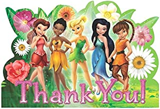 Disney Tinkerbell And The Fairies Birthday Party Thank You Cards (8 Pack), Multi Color, 5 7/9
