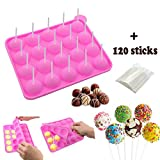 BPA Free Silicone Cake Pop Mold, Lollipop Silicone Molds,Muffin Cake Ice Cube Trays 120 Sticks Gumdrop Jelly Moulds- Pink