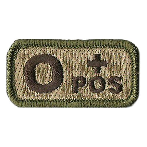 Tactical Blood Type Patches -Type O Positive - 2x1 (Multitan)