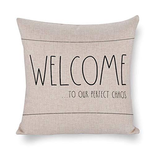 Blafitance Bienvenido a nuestra funda de almohada perfecta de caos, funda de almohada decorativa de lino con cita inspiradora, decoración rústica para el hogar, 60 x 60 cm