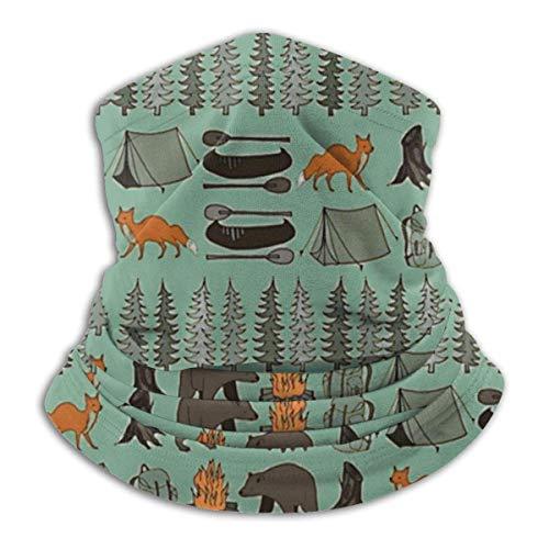 Emonye Multifunction Neck Scarf Campsite Campfire Trees Woodland Bear Fox Ski Neck Cover Warmer Black