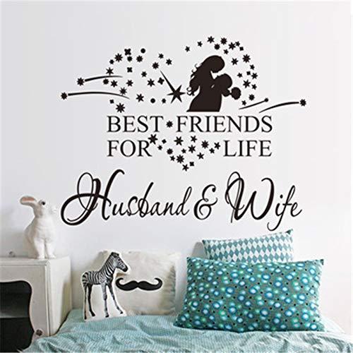 mlpnko Ehemann Frau Liebe Vinyl Kunst Wandaufkleber Kunst Aufkleber Schlafzimmer romantische Raumdekoration Hauptdekoration 64x81cm
