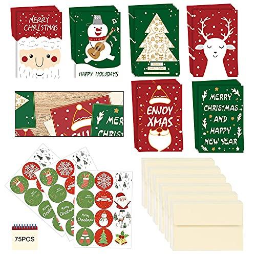 108PCS Tarjetas Navideñas Con Sobre,Tarjetas De Navidad Con Sobres Y Pegatinas,Tarjetas De Felicitación Dobladas,Tarjetas...