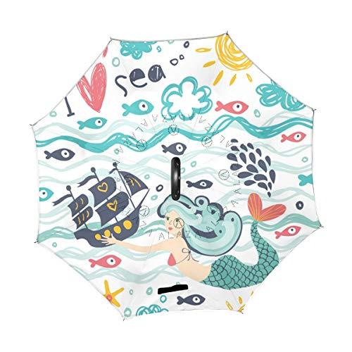 rodde Sombrilla Cute Ocean Sea Mermaid Barco Barco Sun Fish Reverse Invertido...