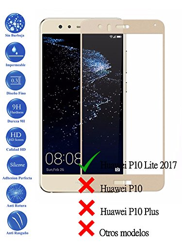 Todotumovil Protector de Pantalla Huawei P10 Lite Dorado Completo 3D Cristal Templado...