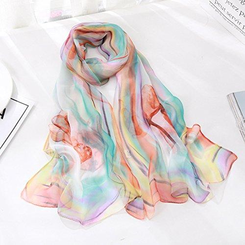 Ich eng Handtuch, dünn, Seidenschal wild Silk Schal Sunscreen Sieben farbigen Schals, Orange Grün