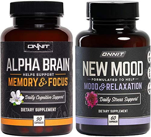 ONNIT Alpha Brain 90ct + New Mood 60ct Nootropic Stack