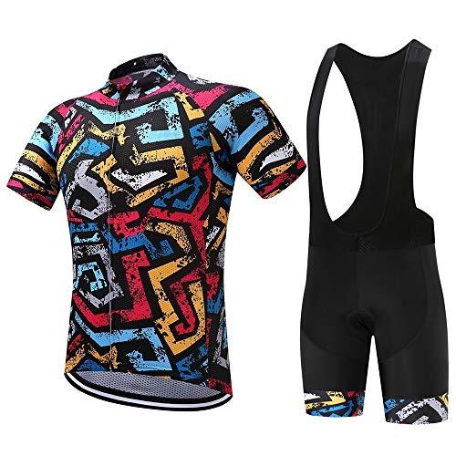 WPW Conjunto de Maillot de Ciclismo para Hombre, Ropa de Ciclo Respirable de la Bici MTB del Camino, Trajes de Manga Corta con Pantalones Cortos Acolchados de Gel 19D (Color : C, Talla : L)