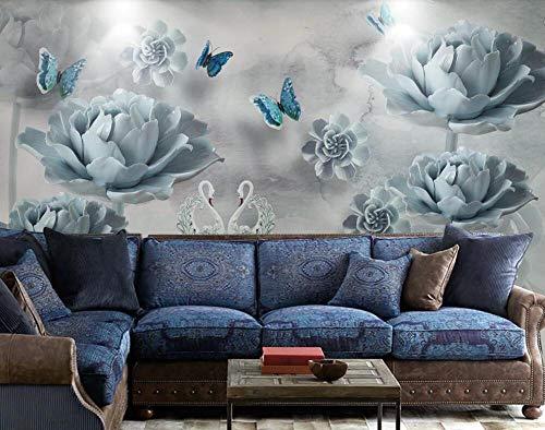 Pink world Wandbild Romantische und Elegante Swan Lake Farbe Schmetterling geprägte Blume 3D Hintergrund Wanddekoration Tapete-Über 300 * 210 cm