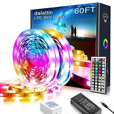 60FT LED Lights,Dalattin LED Lights for Bedroom Color Changing RGB 5050 Kit with 44 Keys Remote Controller and 12V Power Supply LED Strip Lights for Bar Home Decoration Non-Waterproof