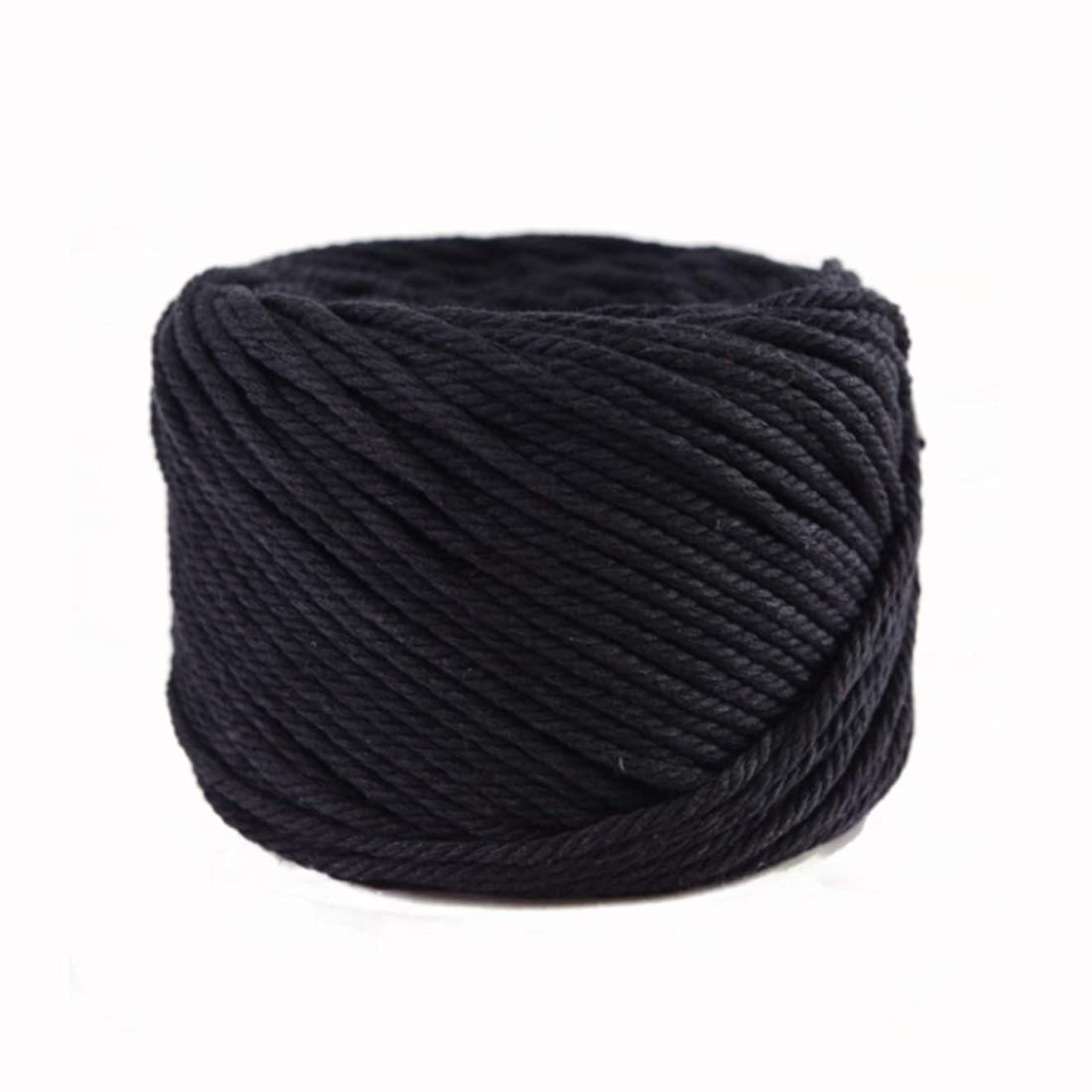 (Black, 6mm x 50m(About 55 yd)) Handmade Decorations Natural Cotton Bohemia Macrame DIY Wall Hanging Plant Hanger Craft Making Knitting Cord Rope Natural Color Beige Macramé Cord