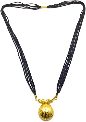 Gold Plated Golden Vati Tanmaniya Pendant Black Beads 6 Line Multilayer Long Mangalsutra for Women 30 inch