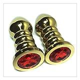 Z-one 1 2Pcs Hilo Oro Acero inoxidable Metal Pluge Set Diamond Anale Pluge para Hombres Mujeres (Rojo)
