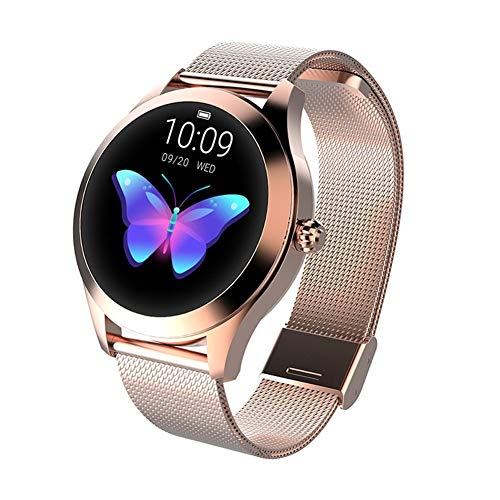 Smart Watch KW10, runde Touch Screen IP68 wasserdichte Smartwatch for Frauen, Fitness Tracker mit Herzfrequenz und Schlaf-Pedometer, Armband for IOS/Android (Color : Gold)