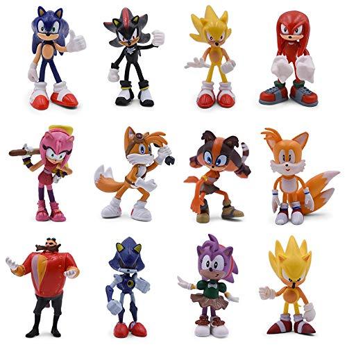 Figura de Sonic 12set Sonic Cartoon PVC Juego de Figuras de acción Sonic Shadow Amy Rose Knuckles Tails Modelo Coleccionable muñeca Juguetes Regalo para niños