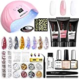 Modelones Poly Extension Gel Nail Kit, 3 Pcs 30g Nail Extension Gel White/Pink/Clear with 48W Nail Lamp Slip Solution Nail Strengthener Rhinestone Glitter Nail Manicure Beginner Starter Kit One Color Changing under Sun Light