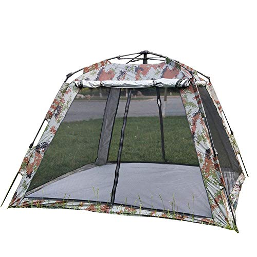Reeamy-Home Travel Tent Double-layer Camouflage Camping Tent Large Space 3-4 People Rainproof Sunscreen and Mosquito Tent (Color : Camouflage, Size : 3-4people)