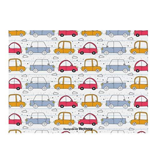 Alfombrilla de secado de platos, diseño de garabatos de coche, absorbente, reversible, de microfibra, protector para encimera de cocina, 30,4 x 40,6 cm