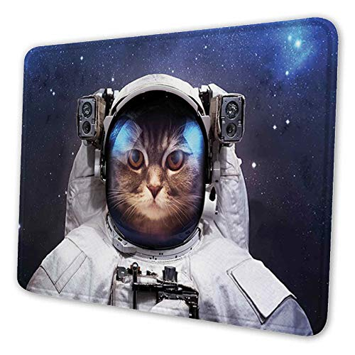 ETHAICO Mouse pad Customized Mousepad Non-Slip Rubber Base Mouse Pads for Computers Laptop Office Desk Accessories Milkyway Galaxy Space Traveller Cat in Suit with Stars Back Mouse pad