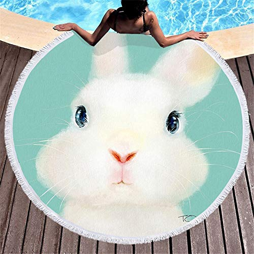 HYMY Gym Towel & Workout Towel Thick Soft Super Water Absorbent Multi-Purpose Printing Large Round Beach Towel Circle Picnic Carpet Yoga Mat Blanket With Tassels for travel, gym, yoga, swim