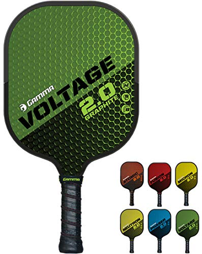 GAMMA Sports 2.0 Voltage Pickleball Paddle: Mens and Womens Textured Graphite Face Pickle-Ball Racquet - Indoor and Outdoor Racket: Green, ~7.6 oz