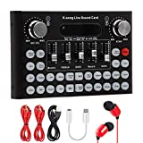 Bluetooth Live Sound Card Mixer Board, Voice Changer Multiple Sound Effects Audio Box for Live Streaming Computer Mobile Phone