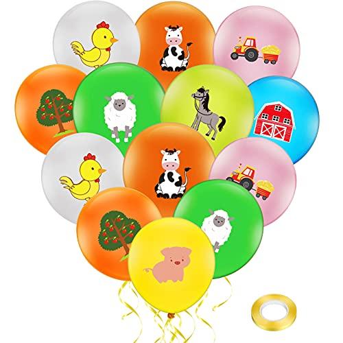 40 Pieces Farm Animal Balloons Animal Theme Latex Balloons Farm Themed Birthday Balloons Assorted Farm Animal Balloon with 10 Meters Yellow Ribbon for Farm Decoration Barnyard Supplies Birthday Party