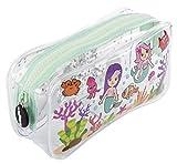 Fringoo®, astuccio con scomparto liquido per ragazze, grande astuccio trasparente, regalo per adolescenti Grande Mermaids World
