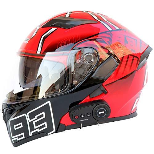 SJAPEX Casco de Motocicleta Modular Integrado con Bluetooth,Auriculares y micrófono Integrados Casco de Carreras de Cara Completa Diseño de Personalidad,Certificación ECE/Dot A,M=57~58cm