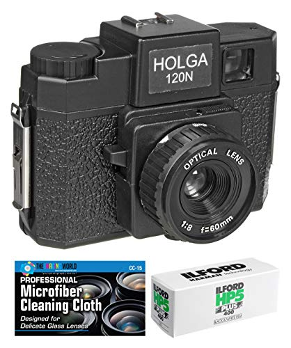 Holga 120N Medium Format Film Camera (Black) with Ilford HP5 120 Film Bundle and Microfiber Cloth