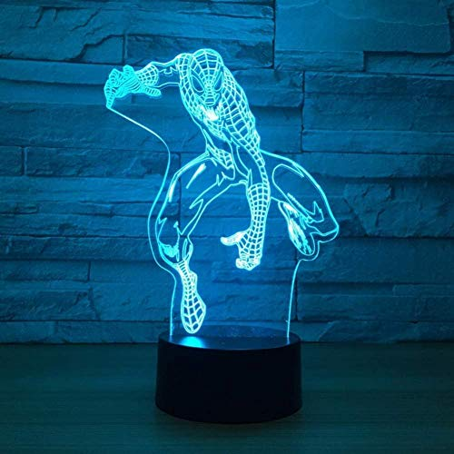 Night Light Cool Spider-Man 3D Lamp 7 Color Led Night Lamps for Kids Touch Led USB Table Baby Sleeping Nightlight