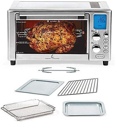 Emeril Lagasse Power Freidora de aire 360 mejor que los hornos de convección, horno de tostadora, horno, asador, cocción lenta y más deshidratante de alimentos, función de pizza, recetario incluido, de acero inoxidable