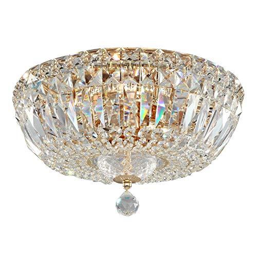 Lámpara de Techo de Cristales estilo barroco, classoco,de metal color oro antiguo y tulipas de cristal, bombillas no incl, 3x E14 60W 220 V -240 V