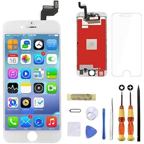 GOLDWANGWANG para iPhone 6S Plus Pantalla LCD de 5.5' Pantalla táctil Digitalizador Conjunto de Marco de Vidrio con Kit de Herramientas de Reparación (Blanco)