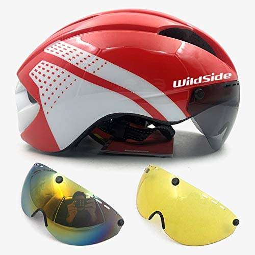 linfei Casque TT Time Trial Cycling Casque pour Hommes Femmes Lunettes Course Vélo De Route Casque avec Lentille 54-57 Cm I