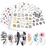Nail Art Stickers Set Water Decals Nail Supplies Decoration Slider Foil Tattoo with Black Snake Butterfly Anime Flowers Letter Skull Sexy Lips Love Cool Design DIY Manicure Accessory 16 PCS
