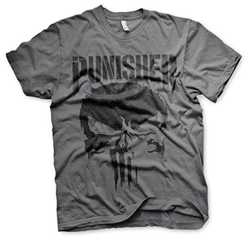 Offizielles Lizenzprodukt Marvel's The Punisher Big Skull Herren T-Shirt (Dunkelgrau), Large