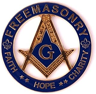 Faith Hope Charity Square & Compass Masonic Round Blue Auto Emblem - 3
