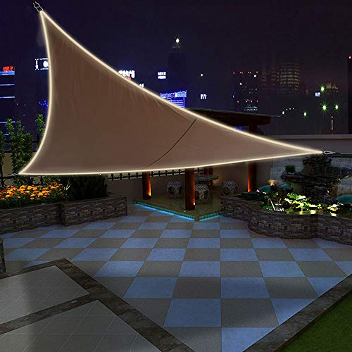 YUDEYU Sun Protection Outdoor Camping Shade Mesh Triangle LED Lights Awning High Waterproof Polyester Cloth (Color : Brown, Size : 3.6m x 3.6m x 3.6m)
