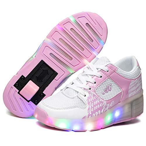 Unisex Niños Zapatos de Roller Automática Ajustables Ruedas Zapatos de Skate LED Luz Parpadea Deportes al Aire Libre Skateboard Sneaker Trainers Zapatillas de Skateboard