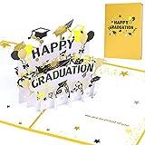 HOWAF Pop Up 3D Karte Glückwunsch Grußkarten,glückliche Abschlusskarten,3D Glückwunschkarte zum bestandenen Doktor, Examen, Bachelor oder Master Abschluss,Handgefertigte Geschenkkarte mit Doktorhüten