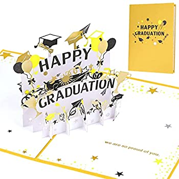 Happy Graduation Card 3D Graduation Greeting Card with Envelope Graduation Pop Up Card Celebration Card Gift for School College University PHD Graduates