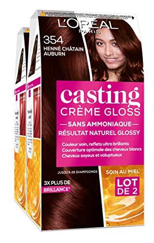 L'Oréal Paris Coloration Ton Sur Ton Sans Ammoniaque 3.54 Henné Châtain Auburn - Lot de 2