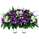 Sympathy Silks Artificial Cemetery Flowers – Realistic- Outdoor Grave Decorations - Non-Bleed Colors, and Easy Fit - Lavender Amaryllis & Purple Rose Saddle for Headstone
