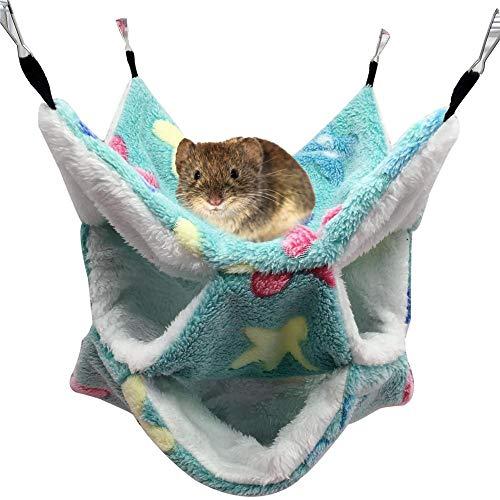 Hete-supply 3-laags hamster hangmat, klein huisdier comfortabele slaapzak, mini dier opknoping bed, mini eekhoorn koraal fleece nest, Groen