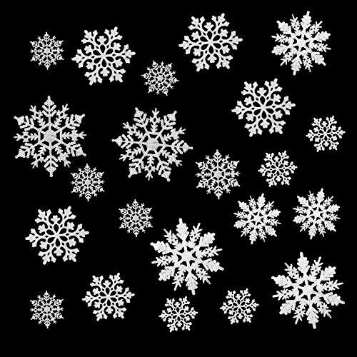 Boao 50 Stücke Kunststoff Funkeln Schneeflocken Ornamente für Weihnachten Dekoration, Verschiedene Größen (Weiß Glitzer)