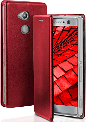 ONEFLOW Handyhülle kompatibel mit Sony Xperia XA2 - Hülle klappbar, Handytasche mit Kartenfach, Flip Case Call Funktion, Klapphülle in Leder Optik, Weinrot
